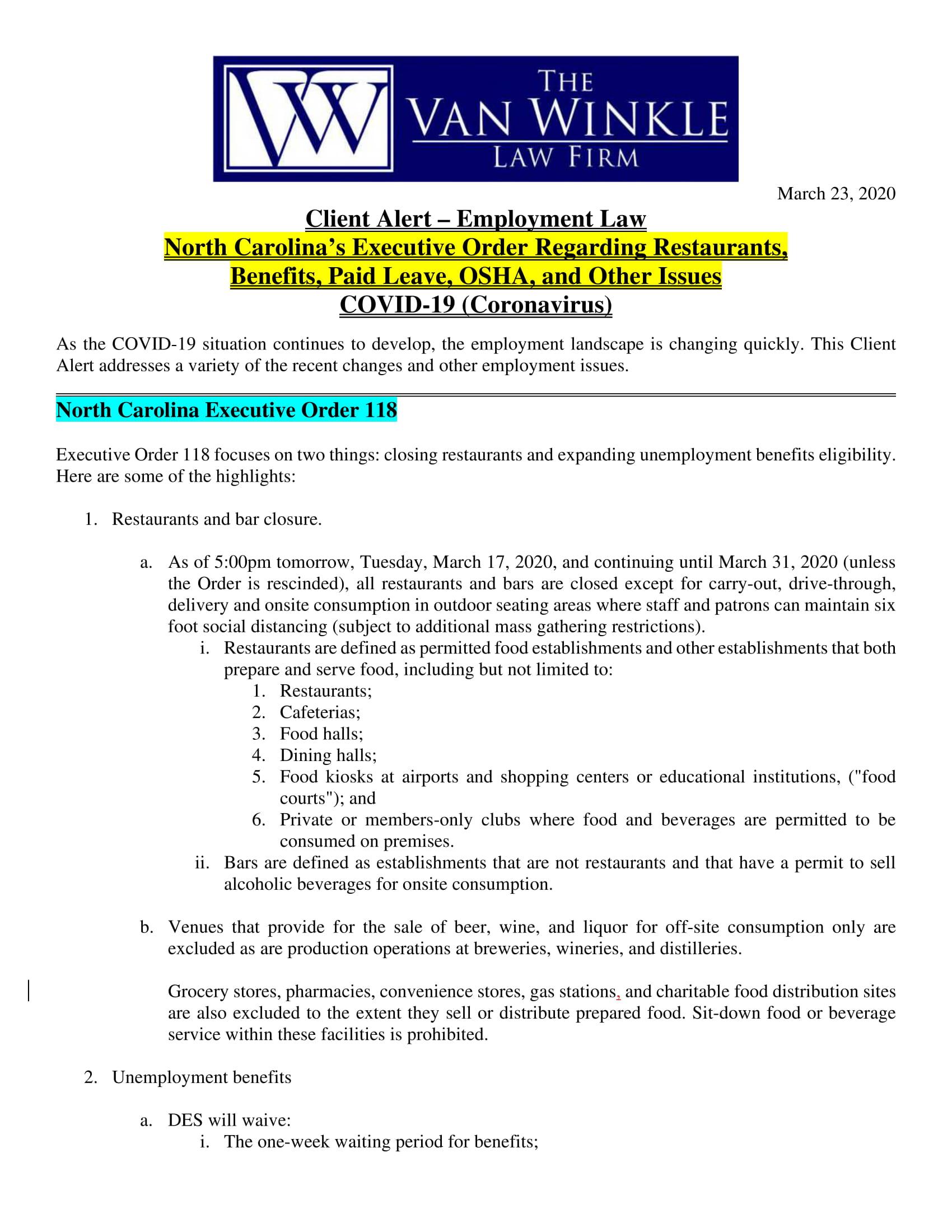 North Carolina's Executive Order Page 1