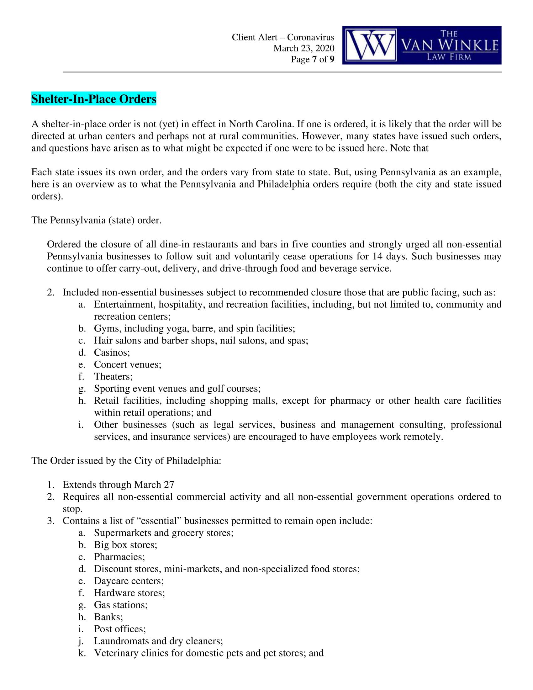 North Carolina's Executive Order Page 7