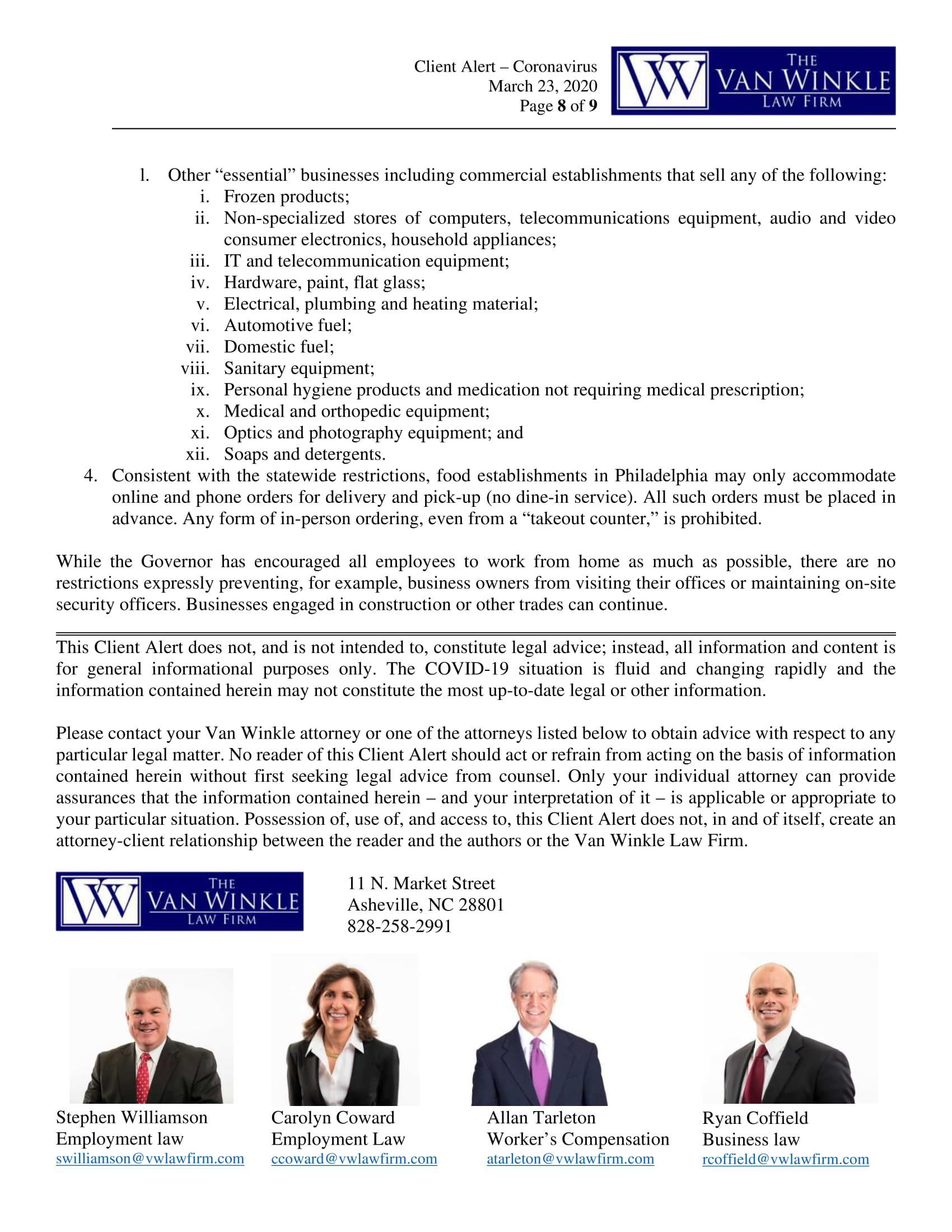 North Carolina's Executive Order Page 8