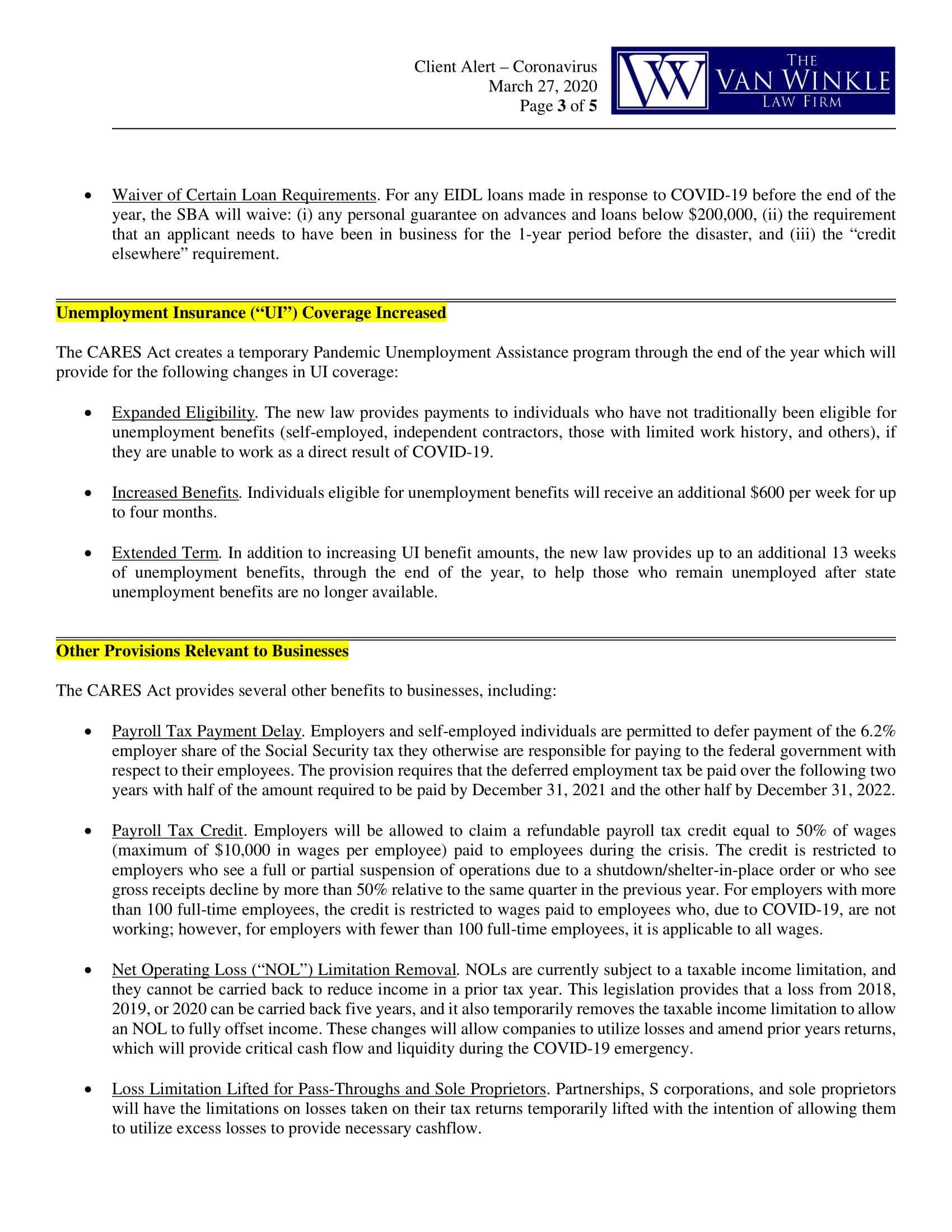 Phase 3 Coronavirus Relief Page 3
