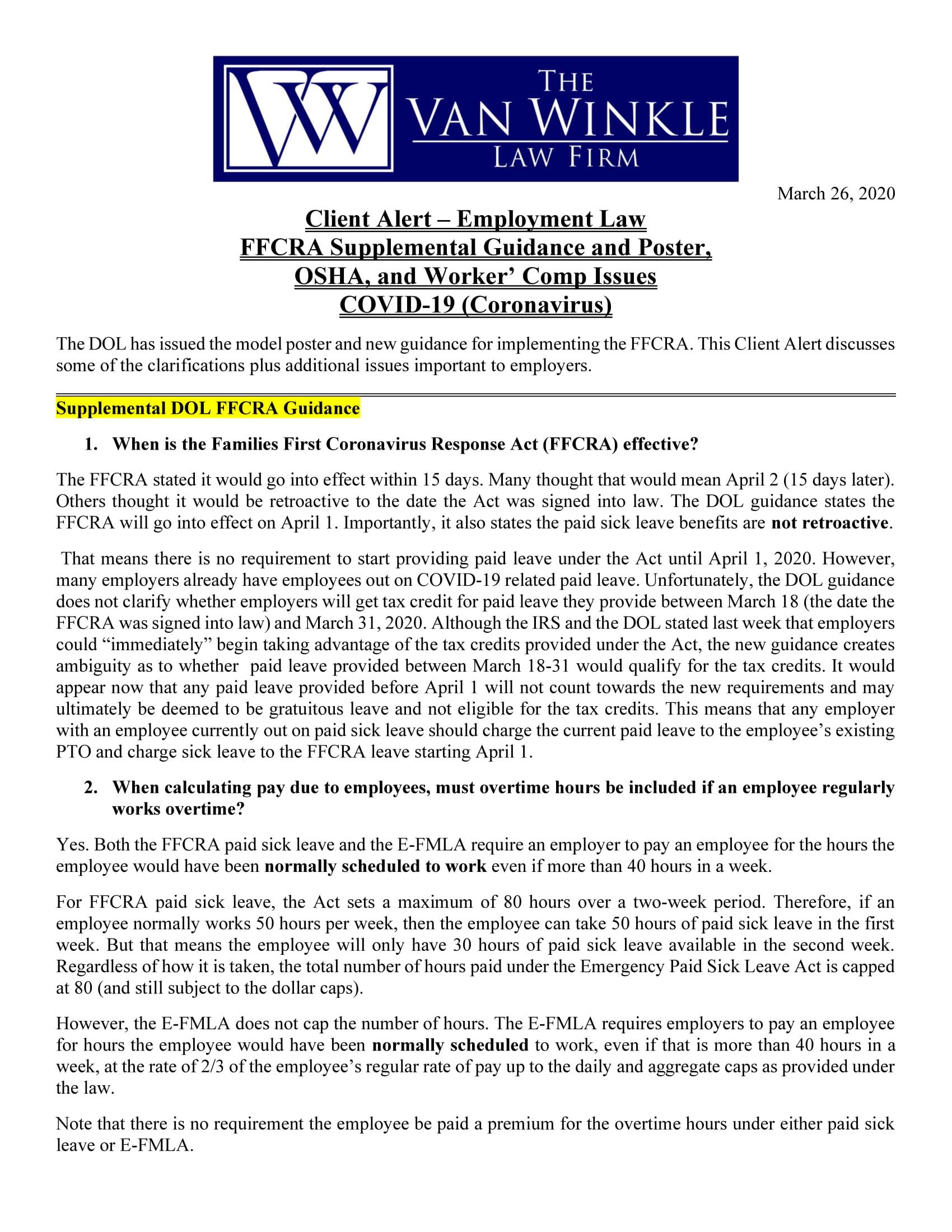 FFCRA Supplemental Guidance Page 1
