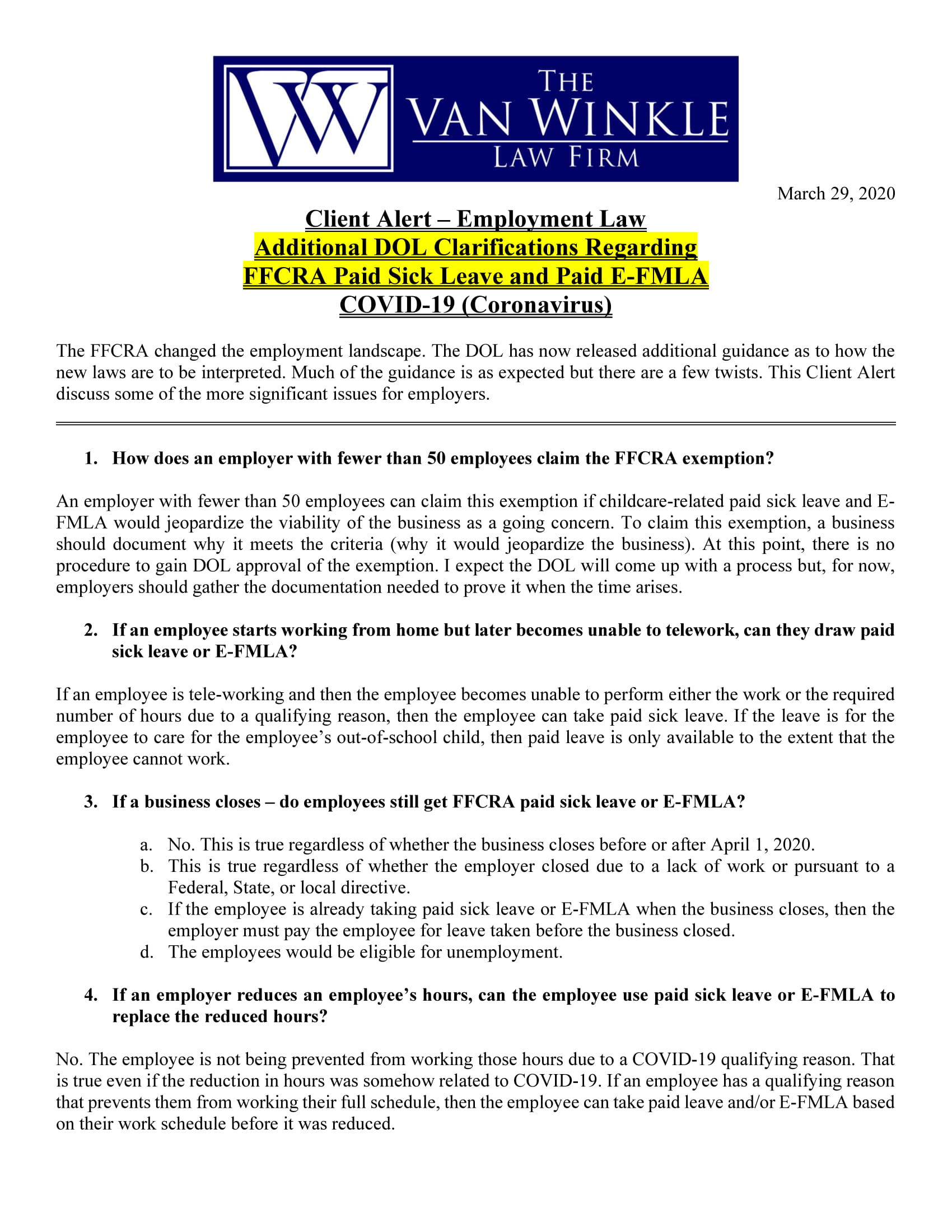 Additional DOL Clarifications Page 1