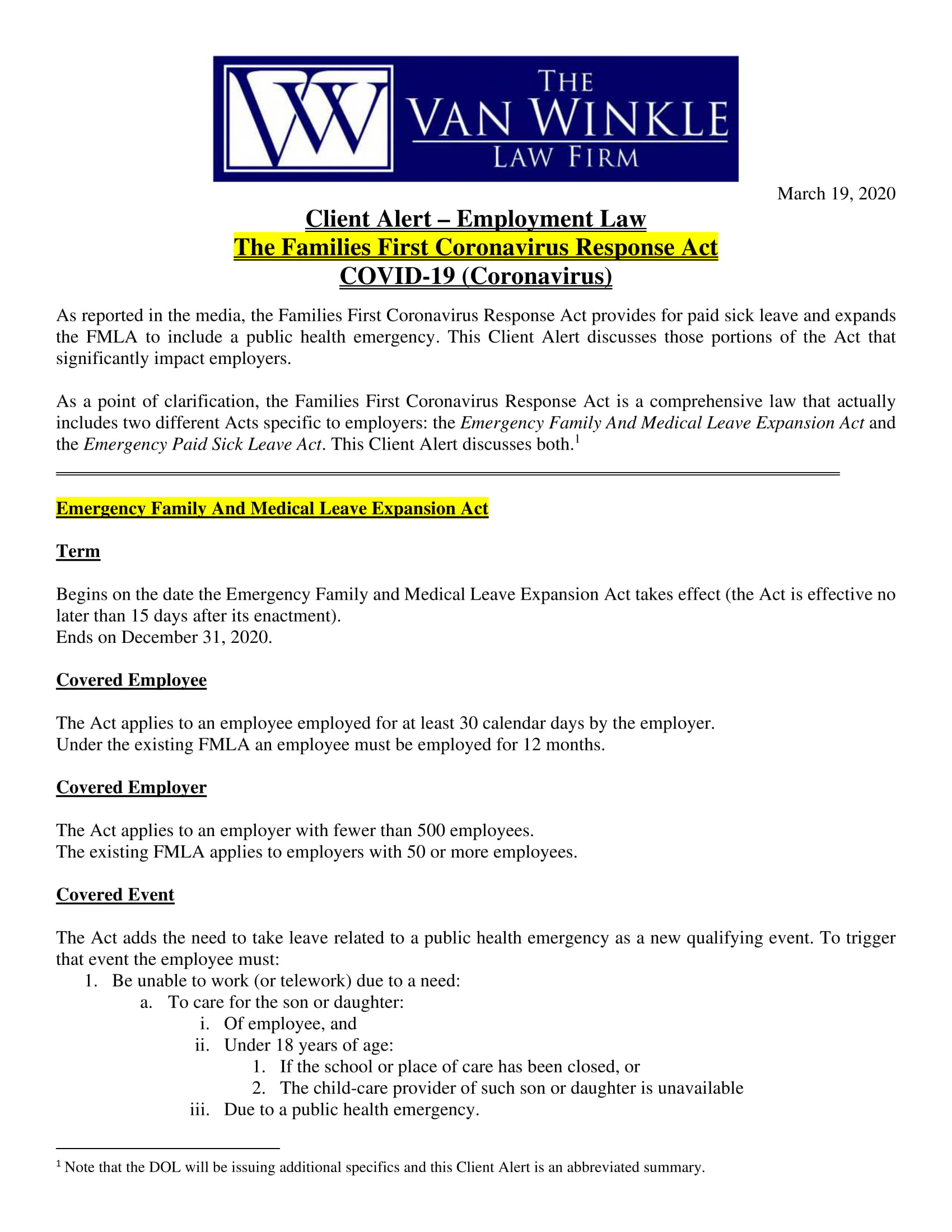 Families First Coronavirus Response Act Page 1
