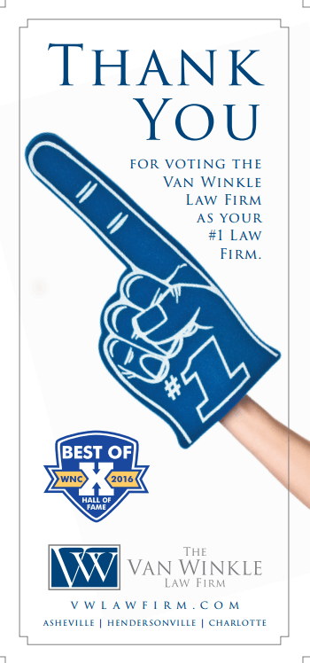 The Van Winkle Law Firm Voted Best Law Firm in Western North Carolina  by Mountain Xpress Readers in 2016 Best of WNC Awards