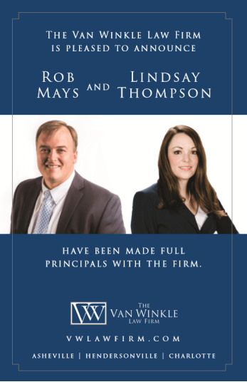 Attorneys Rob Mays and Lindsay Thompson Named Full Principals of The Van Winkle Law Firm